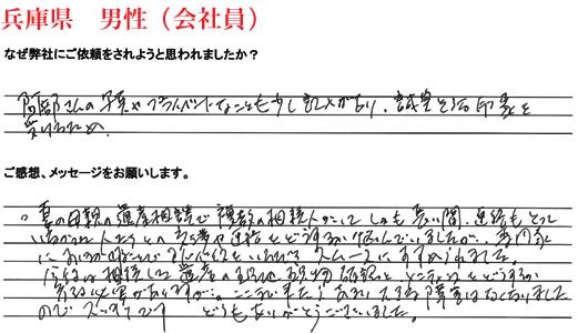 相続手続き代行お客様の声、兵庫県男性(会社員)