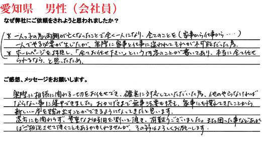 相続手続き代行お客様の声、愛知県男性(会社員)
